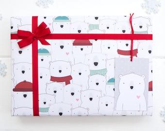 Polar Bear Christmas Wrapping Paper Set - Festive Gift Wrap - Christmas Gift Wrap - Childrens Wrapping Paper.