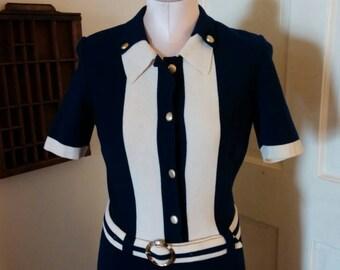 Dress, Navy Dress, Wool Dress, Women's Dress, Blue Dress, Vintage Dress, Size Medium Dress, Retro Clothing, The Hecht Co. Dress, Costume