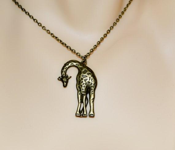 Giraffe Necklace, Bronze Giraffe Charm, Large Pendant, Animal Jewelry, Big Charm Pendant, Giraffe Pendant, Simple Necklace, Standing Giraffe