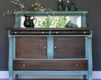 "SOLD***   Antique Empire Buffet, Sideboard, Entry Table Muted Turquoise With Dark Stained Top & Fronts ""Coastline"" Modern Vintage"