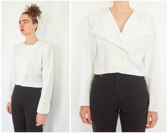 80s SAINT LAURENT Cropped White Jacket