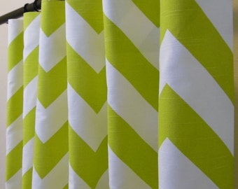 40% OFF Pair of 25 x 84 inch Rod Pocket Drapery Panels Artist Green and White Chevron Zig-Zag Blackout Lined