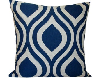 Navy Pillows, Decorative Throw Pillow Cover Premier Prints Emily Indigo Laken, Throw, Accent Pillow Covers, Toss Pillow