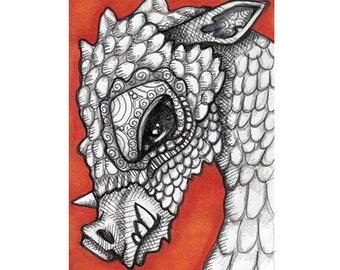 Pen and Ink Original Mini Art ACEO Dragon