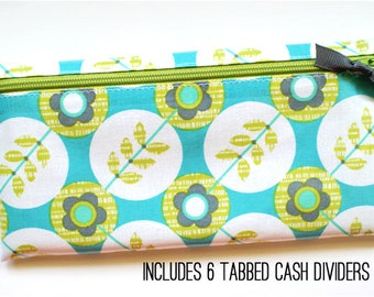 Envelope system cash budget wallet with 6 tabbed dividers | turquoise, kiwi, white dots laminated cotton