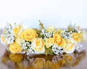 M2M Lemon Meringue Dress - FLower Crown - Newborn Photo Prop - Vintage Inspired Prop - Floral Halo - Newborn Bonnet