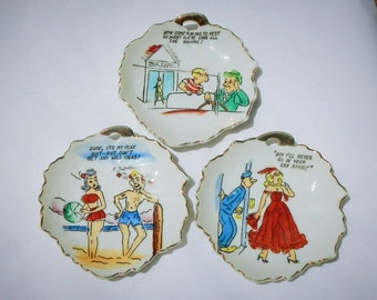Risque Colorful Comic Ceramic Vintage Wall Hangers