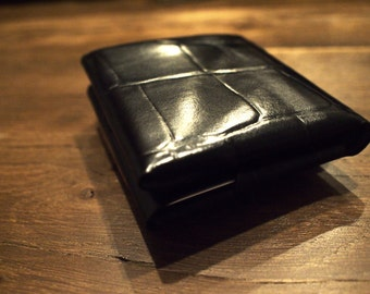 "Stitchless/Seamless "" minimalist"" origami wallet in Black Embossed leather -Ready to Ship"