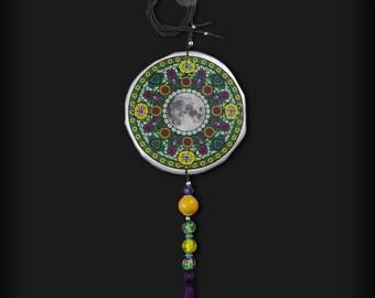 XXL SUN Mandala - long necklace with jade, very big BOHO pendant