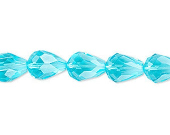 Teardrops Faceted Glass Beads Aqua 10mm x 7mm 56 faceted teardrop