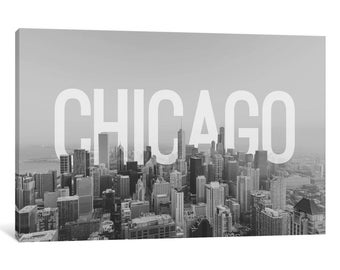 iCanvas B/W Chicago Gallery Wrapped Canvas Art Print by 5by5collective