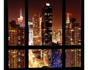 iCanvas Manhattan - Window View Gallery Wrapped Canvas Art Print by Philippe Hugonnard