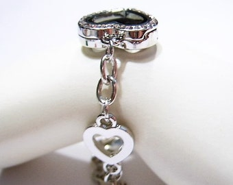 NEW! 1 Crystal Heart, FLOATING Locket, Memory Bracelet with Cut-out Hearts and Large link Bracelet, Silver Plated,  w/ Finisher Heart