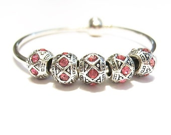 5 HOT Pink, Diamond Pattern, Glass & Tibetan Silver, European, Charm Bead Spacers for Euro Bracelets and Cuffs, Large Hole