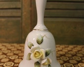 Ceramic Bell with Yellow Roses, Vintage Porcelain Bell, Numbered