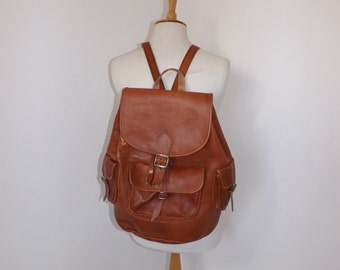 Vintage extra large real leather backpack rucksack brown tan bag back pack traditional