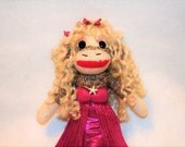 "Mermaid Sock Monkey Doll, Mermaid Doll, 8"" Sock Monkey Mermaid Doll, Monkey Mermaid, Pink Mermaid, Mermaid Art Doll, Sock Monkey Collectible"
