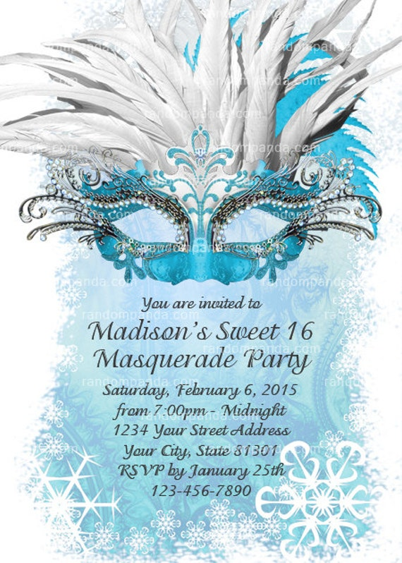 Ice Blue Masquerade Ball Invitation Sweet 16 Party Winter