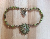 Victorian cameo style vintage look choker necklace with lime green moss green rose rhinestones and beads