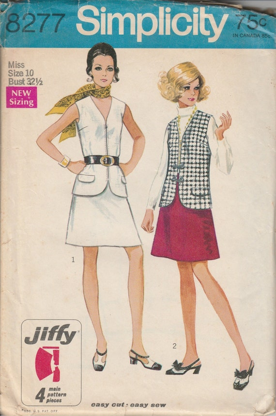 1960's Printed Sewing Pattern Simplicity 8277 misses vest & skirt size 10 bust 32