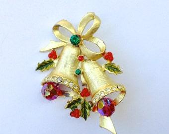 Rhinestone Christmas Bells Brooch Red & Green Vintage Holiday Costume Jewelry