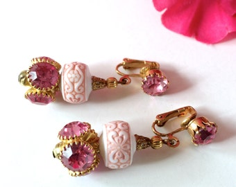Pink & White Rhinestone Earrings Vintage Retro Delicate Fashion Jewelry