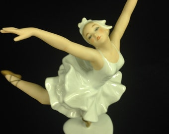 UNIQUE  1960's WALLENDORF White and Gold  Porcelain Ballerina figurine