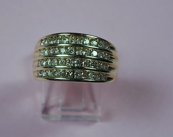 Diamond Band Ring 1 Carat Total 12mm wide Yellow Gold 10K 5.5gm size 10 Wedding Anniversary Band