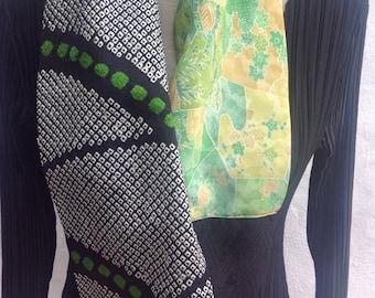 Vintage Kimono silk infinity scarf, black and green FREE SHIPPING