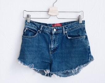 vintage distressed reconstructed levi denim shorts
