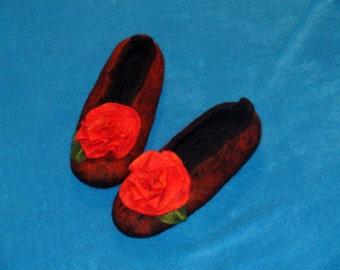 Handmade felted merino wool slippers red flower red Rose Christmas gift