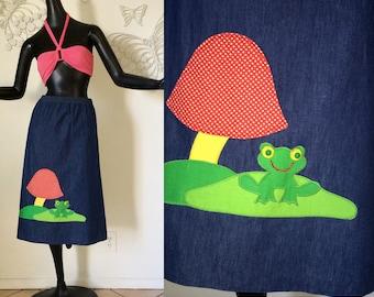 1970s Magic Mushroom & Frog Vintage 70s Hippie Boho Stoner Pot Marijuana 420 Festival Red Polka Dot Mushroom Applique Skirt Blue Jean Denim