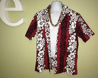 Vintage 80s Men's Hawaiian shirt by Royal Hawaiian Burgundy Maroon Cranberry & White Hibiscus Flowers 1980s 80s Tiki Oasis Hukilau Cotton M