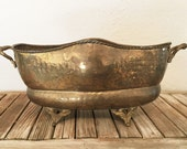 Vintage Aged Large Brass Footed Bucket