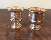 Reserved for Jamie.......Vintage Pair of Silver Mini Urns With Lion Detain