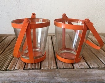 Industrial Orange Metal Candle Holders