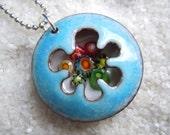 Colorful Murrini Enamel Necklace Artisan Jewelry