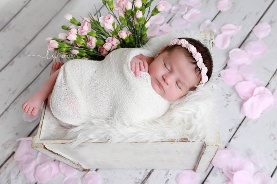 White Newborn Baby Swaddle Wrap AND/OR Pink Flower Halo Headband for newborn photo shoots, baby halo, white wrap by Lil Miss Sweet Pea