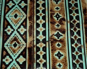 "Leather 12""x12"" Sea Foam and Mocha NAVAJO Tribal Southwestern Embossed Cowhide 2.5-3 oz / 1-1.2 mm PeggySueAlso™ E2400-02"