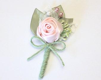 Blush Sage Green Boutonniere/ Wedding Lapel Pin/ Handmade Wedding Accessory