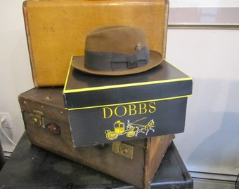 Vintage Dobbs Fedora in the Original Box. Fedora 7? Nice Black and Yellow Dobbs Hat Box Hat storage. Brown Fedora.