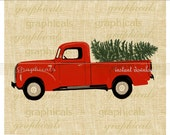 Christmas red truck Tree instant clip art digital download for iron on image transfer to fabric burlap tote pillow Decoupage Card No. 2277