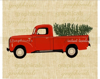 Christmas red truck Tree My drawing instant clip art digital download image for iron on transfer burlap tote pillow Decoupage Card No. 2277