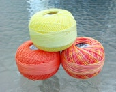 Lizbeth Tatting Thread - Size 20 - Made by Handy Hands - Coral Splash Three Pack - Colors 615, 188 and 706 - Your Choice of Amount