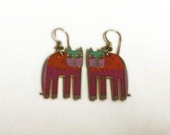 Laurel Burch ALEXANDERS ANIMAL Earrings - Bright Colors - Cat Earrings - Vintage