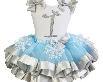 Posh Frozen Inspired Birthday Tutu Outfit - snowflake frozen tutu, studded  top, frozen birthday outfit