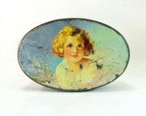 SALE! Vintage Art Deco Tin, Crawford Pretty Blonde 'Shirley Temple' Girl Shabby Chic Lidded Biscuit Tin Sample Size 1930s