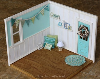 Playscale Blythe Roombox Diorama Teal and White