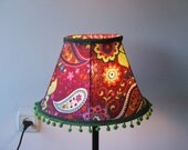 Hot pink table lamp with paisley patterns , flowers and green pom-poms-Lovely Colorful standing table lamp