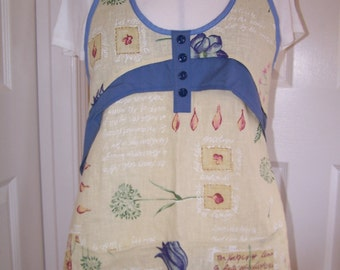 Fragrant Herbs Womens full apron, blue accent cooks apron